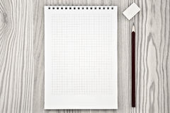 Frame in the form of a notebook with a pencil lying Stock Image
