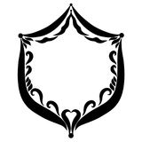 Frame in the form of a shield with a pattern at the edges vector illustration