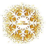Frame in the form of a snowflake on shiny background. Frame in the shape of snowflakes for your text on abstract background with sparkles or confetti. Can be stock illustration