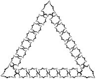 The frame in the form of a triangle made of decorative elements of black color.  Royalty Free Stock Image