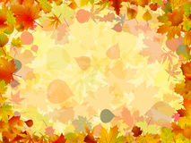 A frame formed by colorful autumn leaves. EPS 8 Royalty Free Stock Photo