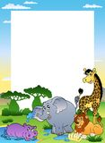 Frame with four African animals. Illustration Stock Photos