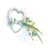 Frame from frames in form of hearts with leaves and blue and yellow flowers Stock Photos