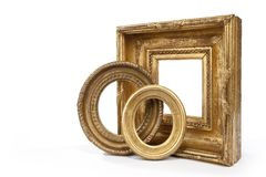Frame, frames, gold, gilded, oval, rectangular, hanging Royalty Free Stock Photos