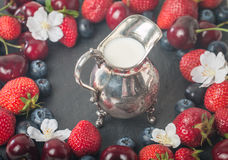 Frame of fresh berries with creamer Stock Photo