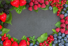 Frame  of fresh berries Stock Images