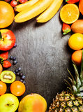 Frame of fresh colorful tropical fruit Stock Photography