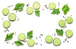 Frame of fresh cucumbers and spices Royalty Free Stock Photography
