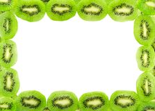 Frame of fresh kiwi fruit slices isolated on a white Royalty Free Stock Photos