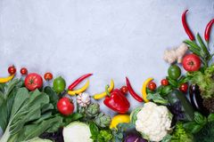 Frame of fresh organic vegetables on a gray concrete background . Healthy natural food top view, copy space . Bok choy pepper cabbage greens artichoke zucchini royalty free stock images