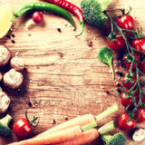 Frame with fresh organic vegetables. Healthy eating concept stock photography