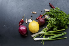 Frame with fresh organic vegetables and herbs Royalty Free Stock Images