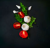 Frame with fresh organic vegetables and herbs Stock Photography