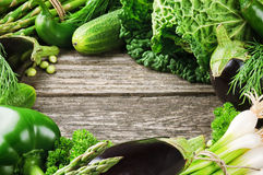 Frame with fresh organic vegetables Royalty Free Stock Images