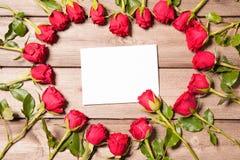 Frame of fresh roses Royalty Free Stock Image