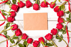 Frame of fresh roses Royalty Free Stock Photos