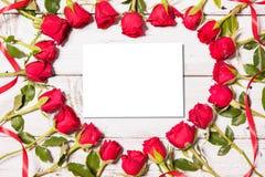 Frame of fresh roses Stock Photos