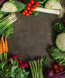 Frame of fresh spring vegetables. Leeks, cabbage, tomatoes, cherry, green onions, asparagus, radishes, carrots, tops, beets, parsley - on a dark background stock image