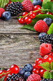 Frame with fresh summer berries Royalty Free Stock Photos