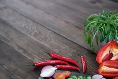 Frame from fresh vegetables on old wooden table. Frame from fresh vegetables on old rustic wooden table Royalty Free Stock Photo