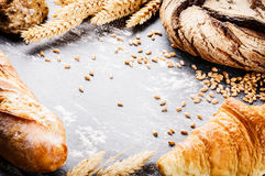 Frame with freshly baked bread. Rustic bakery concept Royalty Free Stock Images
