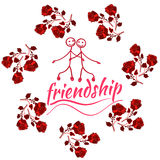 Frame with Friendship Day title, children, friends. Vector illustration. Frame with Friendship Day title, children, friends. Vector illustration Cartoon Royalty Free Stock Photos