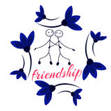 Frame with Friendship Day title, children, friends. Vector illustration. Frame with Friendship Day title, children, friends. Vector illustration Cartoon Stock Image