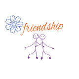 Frame with Friendship Day title, children, friends. Vector illustration. Frame with Friendship Day title, children, friends. Vector illustration Cartoon Royalty Free Stock Photography