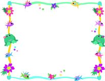 Frame of Frog, Fish, Flowers, and Stars. Here is a colorful frame of frogs, fish, stars, flowers, and bubbles Stock Images