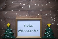Frame With Frohe Weihnachten Means Merry Christmas, Snowflakes Stock Images