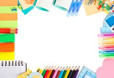 Frame From Color Pencils, Ball Pens And The Royalty Free Stock Photography