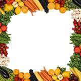 Frame from fruits and vegetables isolated with copyspace Stock Images
