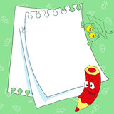 Frame funky pencil. Place for your text. Illustration Stock Images