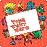 Frame with funny monsters Royalty Free Stock Photos