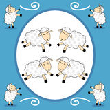 Frame - funny sheep over blue background. Funny dancing sheep over blue background — frame Royalty Free Stock Photo