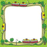 Frame with funny trams and rails Stock Photography