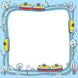 Frame with funny trams and rails Stock Photos