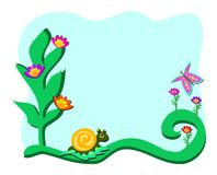Frame with Garden with Snail and Butterfly Royalty Free Stock Photography