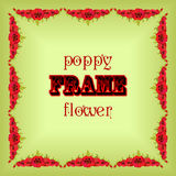 Frame with garland red poppy flowers and leaves. Floral design. Royalty Free Stock Image