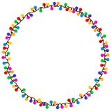 Frame from garland. A round frame with color garland Stock Photography