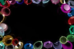 The frame of gems on a black background. Royalty Free Stock Photos