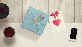 Frame with gift card and valentines heart. White card for congratulation on a background Stock Image