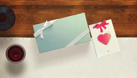 Frame with gift card and valentines heart. White card for congratulation on a background Royalty Free Stock Image