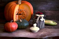 The frame of the gifts of autumn pumpkins, corn, fall leaves, tomatoes, red berry cranberry and grape. Stock Photography