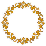 Frame with ginger cookies. Vector ginger cookies round frame Stock Image