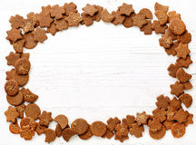 Frame of gingerbread cookies Stock Photo