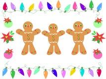 Frame of Gingerbreads, Christmas Lights, Bulbs and Stock Image
