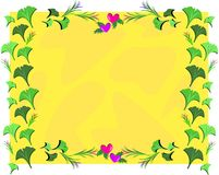 Frame of Gingko Leaves and Hearts Royalty Free Stock Photography