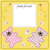 Frame girl. The beautiful nursery frame for text with bear in the manner embroider. Vector illustration Stock Photography