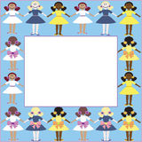 Frame with girls Royalty Free Stock Image
